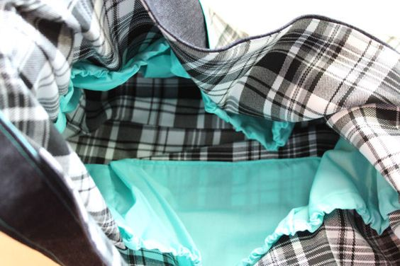 Denim and Plaid Knitting Bag / Diaper Tote with by StrangeDaughter, $24.00