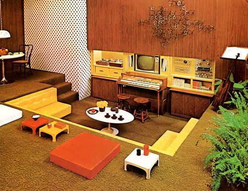Vintage Retro Sunken Living Room Conservation Pit Room Idea 70s Interior  Yellow Ornage Wood Wall Fun Stylish Cool Designjpg 500386 Mood Decor
