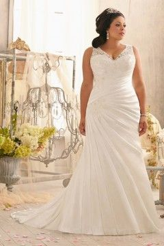 Fit and Flare V Neck V Back Plus Size Wedding Dress