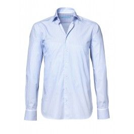 British Indigo overhemd lichtblauw gestreept Inbetween