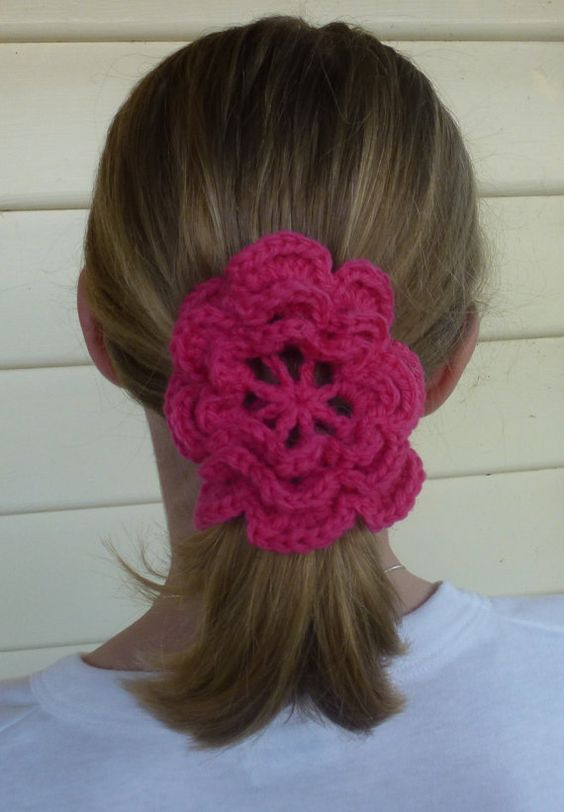 hair ties flower hair elastic 4 00 hairs handmade crochet crochet ...