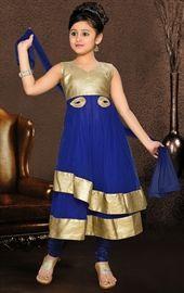 Picture of Exquisite Blue and Gold Color Kids Salwar Kameez