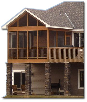 Screened in porch with deck - about the right size