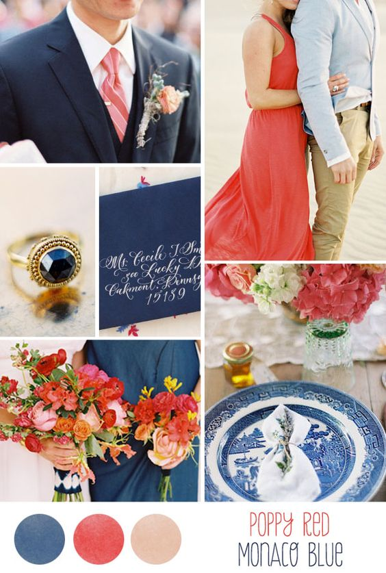 Poppy-red-and-monaco-blue-wedding, but add agave green with copper and leather accents