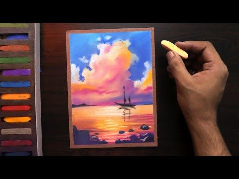 How To Draw Simple Sunset Nature Landscape For Beginners Easy Youtube Soft Pastels Drawing Soft Pastel Art Oil Pastel Paintings