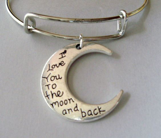 I LOVE To The Moon And Back Charm Adjustable by LittleDivasBangles