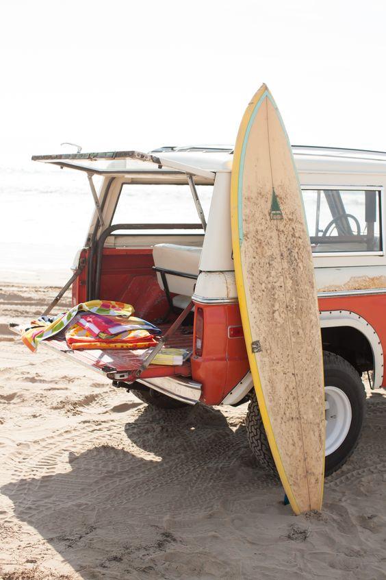 Freedom (surfboard, retro car, sunshine, beach and sea; it definitely equals freedom!)