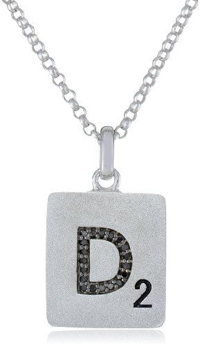 Scrabble 925 Sterling Silver 0.057ct Diamond Initial D Pendant Necklace, 18""