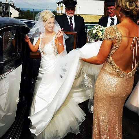 Our gorgeous #bride Fiona with her #bridesmaid wearing the Sequin Gatsby Gown #whiterunway #wedding