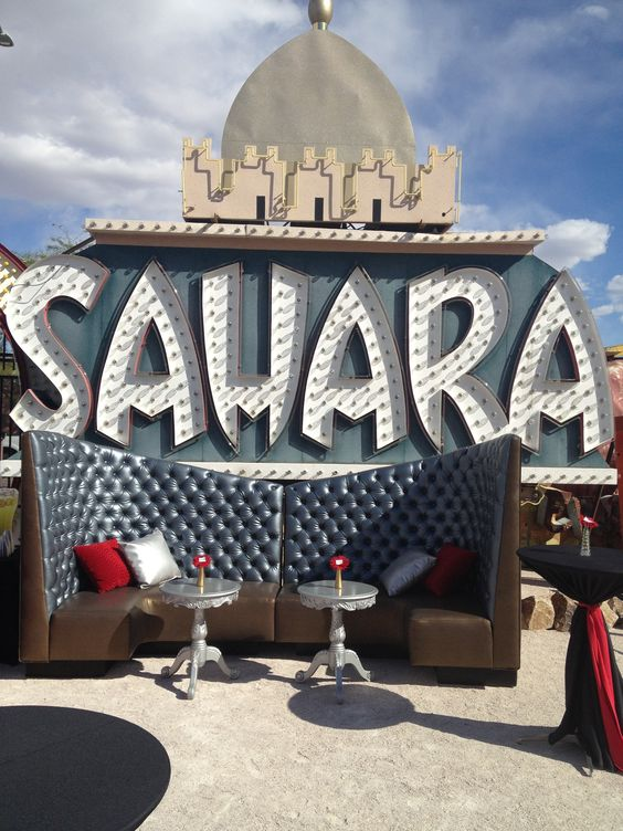 A Classic Vegas Themed Event.  Whether inside the mid-mod La Concha Visitors' Center or the fabulous outdoor area adjacent to the Neon Boneyard, your event will be memorable at the Neon Museum! Let Baskow and Associates help you plan your event today.  Contact us at social@baskow.com.  www.Baskow.com #Neon Museum #Las Vegas #Neon Boneyard