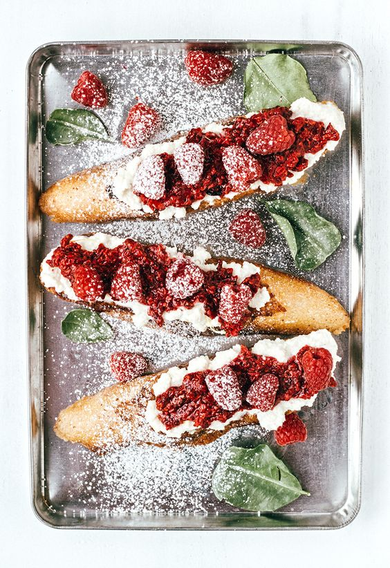 Rustic French Toast with Roasted Raspberries and Almond Ricotta