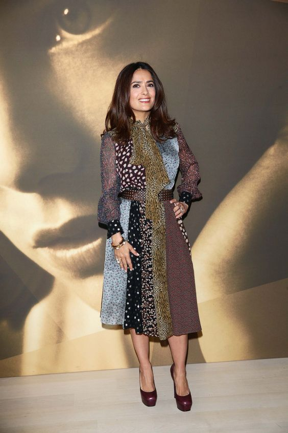 Salma Hayek's fashion choices have often been a celebration of femininity, and she tends toward classic, glamorous silhouettes to flatter her petite hourglass proportions.