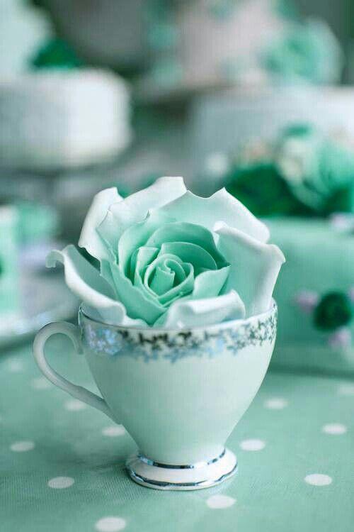 Aqua Rose Tea Cup