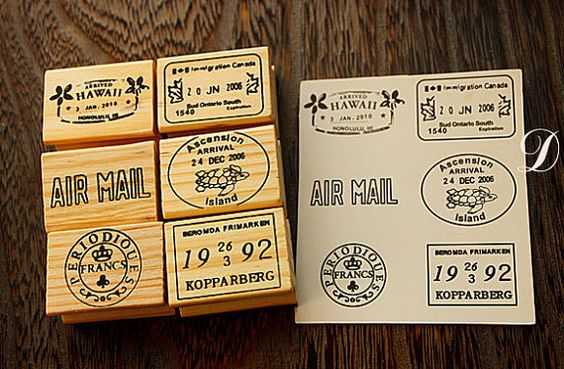 Vintage Postmark Stamp Set - Rubber Stamp Set - Deco Stamps - D