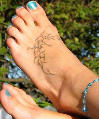 white foot tattoo with shadows