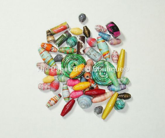 Hand Rolled Loose Paper Beads Supplies Variety Lot #2 by ThePaperBeadBoutique on Etsy