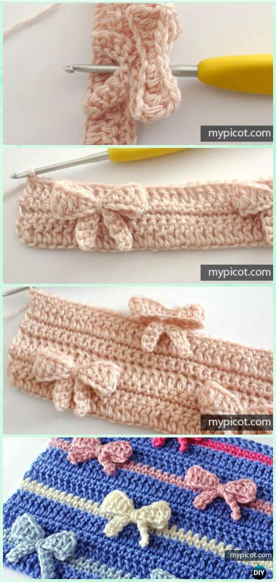 In-Between Crochet Bow Stitch Free Pattern - Crochet Bow Free Patterns: