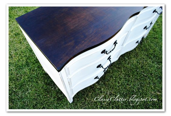walnut stain top, white painted dresser.: