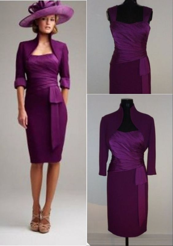 Plum knee length mother of the bride outfits wedding guest for Dress and jacket for wedding guest