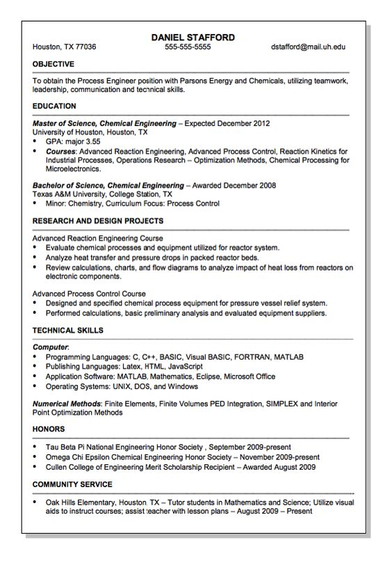 Parsons Energy and Chemical Engineer Resume Sample - http - chemical technician resume