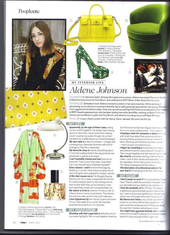 Our Favorite Stylist Aldene Johnson talks about her favorite perfume Fiori D Arancio in this months Livingetc.