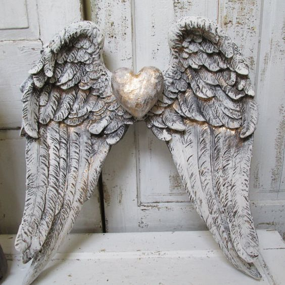 Angel wings wall decor shabby cottage white gray for Angel wings wall decoration