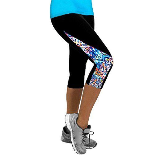 PowerFul-LOT Femme Leggings de Sport Pantalons Jogging Yoga Collants Femmes Dames Floral Sports Yoga Fitness Leggings Gym 3//4 Pantalon Court Mince