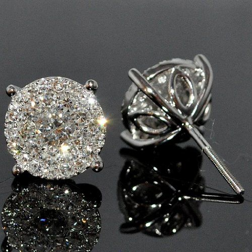 Diamond Stud Earring 1.85ctw XL Big Round Cluster Large Solitaires 11mm Screw back