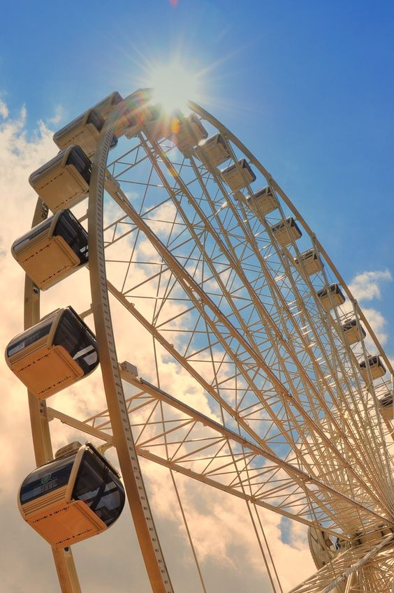 The Wheel at the Island in Pigeon Forge is safe and enclosed but even if you aren't one for excitement, it is a quite a beautiful site from below!