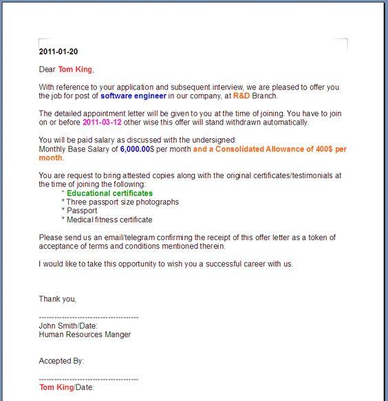 Sample Offer Letter Real Estate