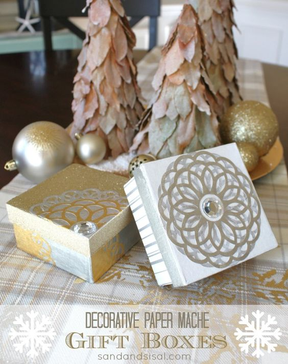 diy decorative paper mache gift boxes they are so glossy they look just like - Decorative Gift Boxes