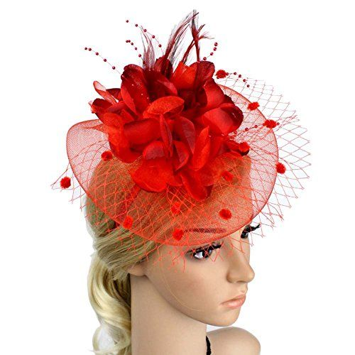 ACTLATI Sinamay Fascinator Hat Feather Flower Pillbox Hat for Derby Cocktail Tea Party
