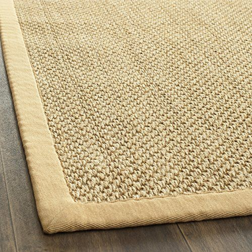 Safavieh Natural Fiber Collection NF443A Handmade Maize and Wheat Sisal Square Area Rug, 8 feet by 8 feet Square (8′ x 8′ Square) #handmade The Safavieh Natural Fibers Collection uses premium, natural fibers to create beautiful, modern rugs.  These rugs are hand-woven of 100% natural seagrass.  The cotton backing adds durability, and protects your floors. These modern rugs will add a chic accent to your home. These rugs are made of natural materials such as jute, sissal, and sea gras..