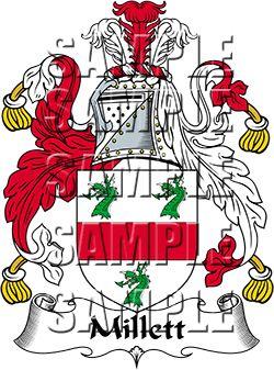 Millett Family Crest apparel, Millett Coat of Arms gifts