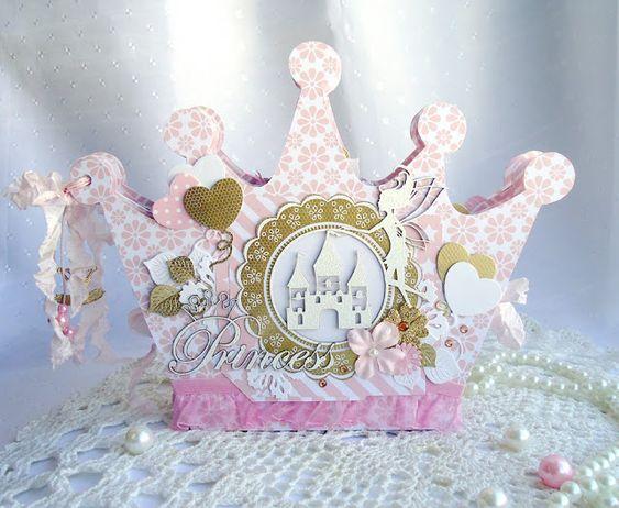 альбом, альбом в форме короны, корона, скрапбукинг, для принцессы, для девочки, розовоый, фея, золотой: