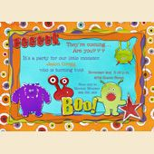 Monster Bash Party Invitation - Birthday Colorful Boo Scary