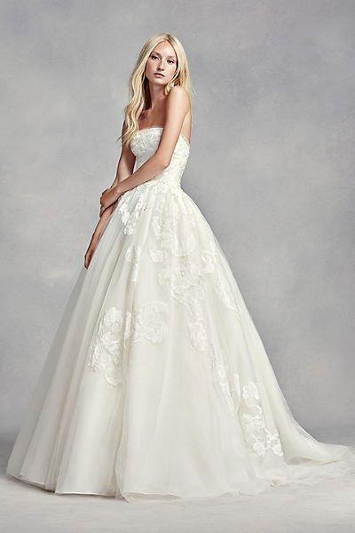 White by vera wang strapless tulle wedding dress vw351297 for Affordable vera wang wedding dresses