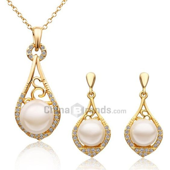 A Suit of Stylish Women's Faux Pearl Drip Necklace And Earrings  $6.99 70% OFF!