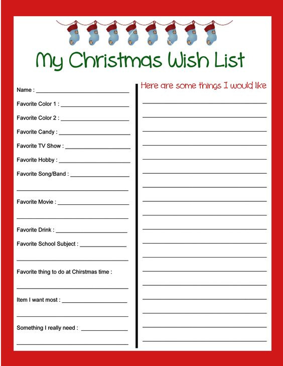 Free Christmas Wish List printable! In addition to things that the kids want, this wish list includes a list of favorites to think about for gift giving. My kids had a blast filling these out and I got lots of great ideas! To download the PDF go to http://rbstoutfamily.blogspot.com/2013/11/christmas-wish-list-and-kids-letter-to.html Enjoy!: