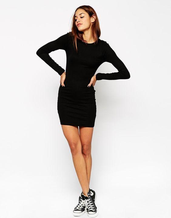 Image 4 - ASOS - Mini robe moulante côtelée à manches longues