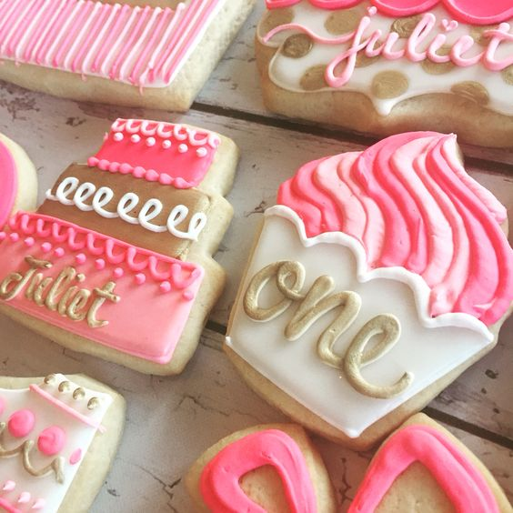 Gold and pink first birthday cookies by Hayleycakes and cookies