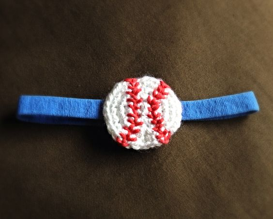 Free Crochet Pattern For Softball Headband : Crochet baseball headband Crochet - Baseball ...