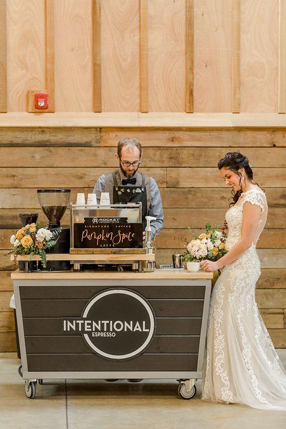 Coffee Cart for a Pumpkin Spice Wedding