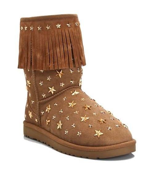 UGG Jimmy Choo Starlit 3044 Tassel Boots- Chestnut