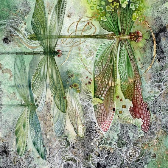 """""""Flow"""" (Dragonflies)   Commissioned piece by Shadowscapes - Stephanie Pui-Mun Law via tumblr"""