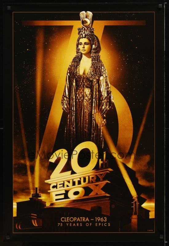 1 of 1 : 6e008 20TH CENTURY FOX 75TH ANNIVERSARY commercial poster '10 Elizabeth Taylor in Cleopatra!