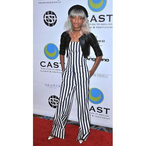 Willow Smith in stripes jumpsuits. silhouettetrend.com