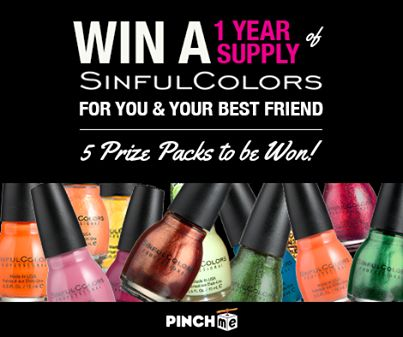 PinchMe Year Supply of Sinful Colors Nail Polish Giveaway