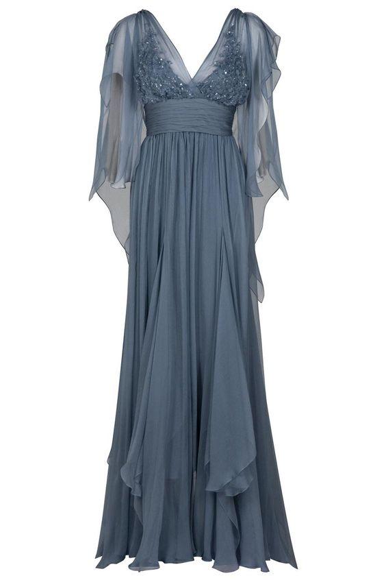 Eastland Sheer Sleeve Gown in Blue (nude)   Lyst