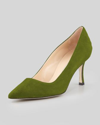 BB+Suede+70mm+Pump,+Green+(Made+to+Order)+by+Manolo+Blahnik+at+Neiman+Marcus.